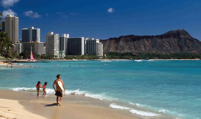 Waikiki beach, Oahu Island, Hawaii Copyright 2008.  John Borthwick