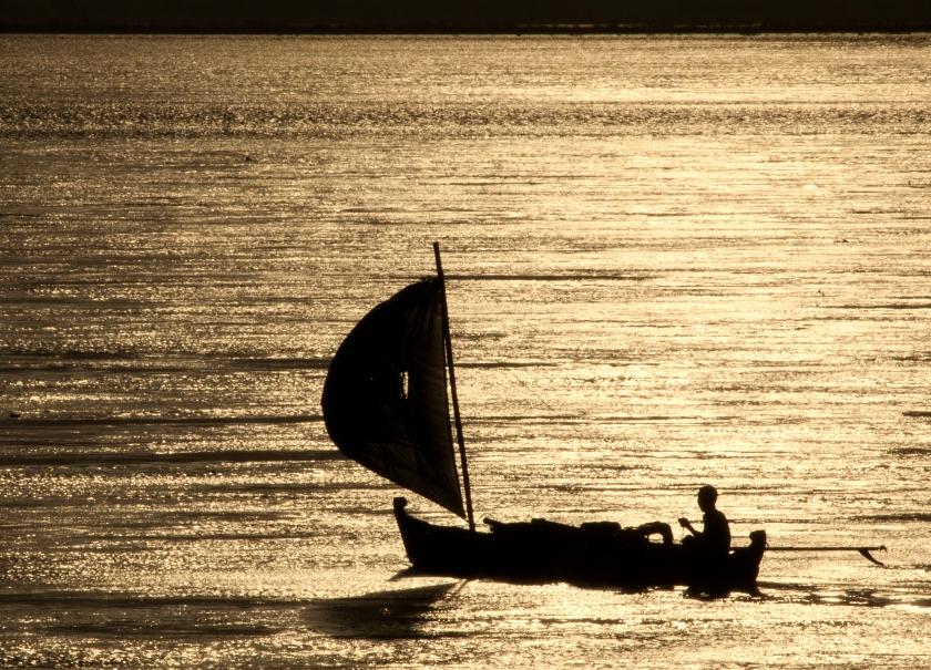 Fishing canoes at morning on Ayerawaddy (Irrawaddy) River