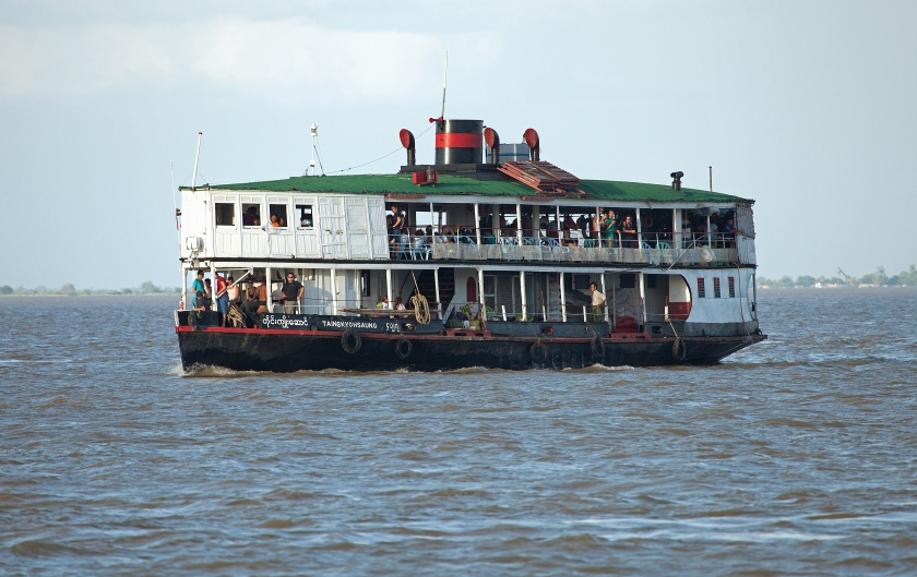 Original early 20th-century Burmese 'steamer' passenger boat.