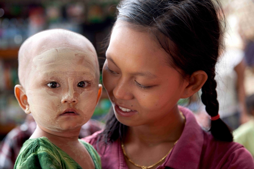 Burmese mother and infant child.
